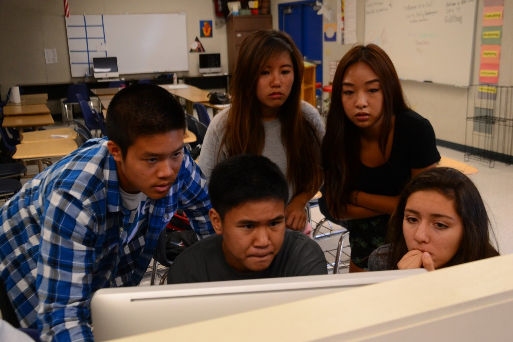 BBN students edit videos. Photo by Ashley Le