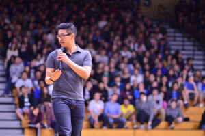 Alumnus Richard Kuo gives a speech about love and acceptance. Photo by Steve Phan