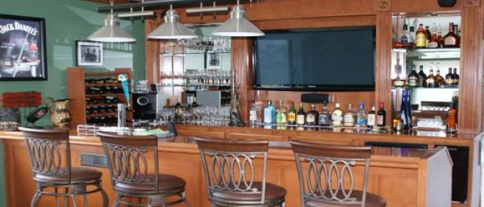 home bar with TV bar back