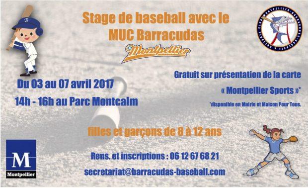 Flyer stage avril baseball Montpellier 2017