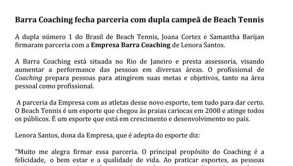 Barra Coaching e Beach Tennis