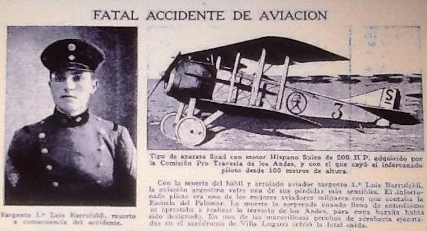 El Sargento Barrufaldi y un avion similar al accidentado en una nota de la Revista