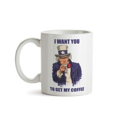 Caneca Get My Coffee - Tio Sam - Coleção Office Station - Barril Criativo