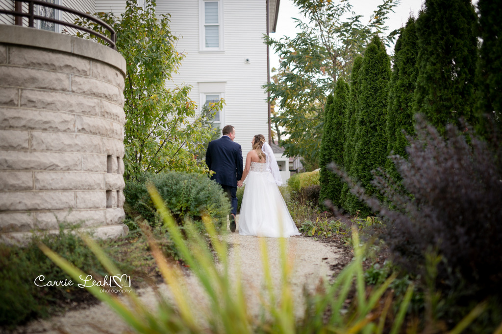 Bride and Groom at Grounds of Barrington's White House