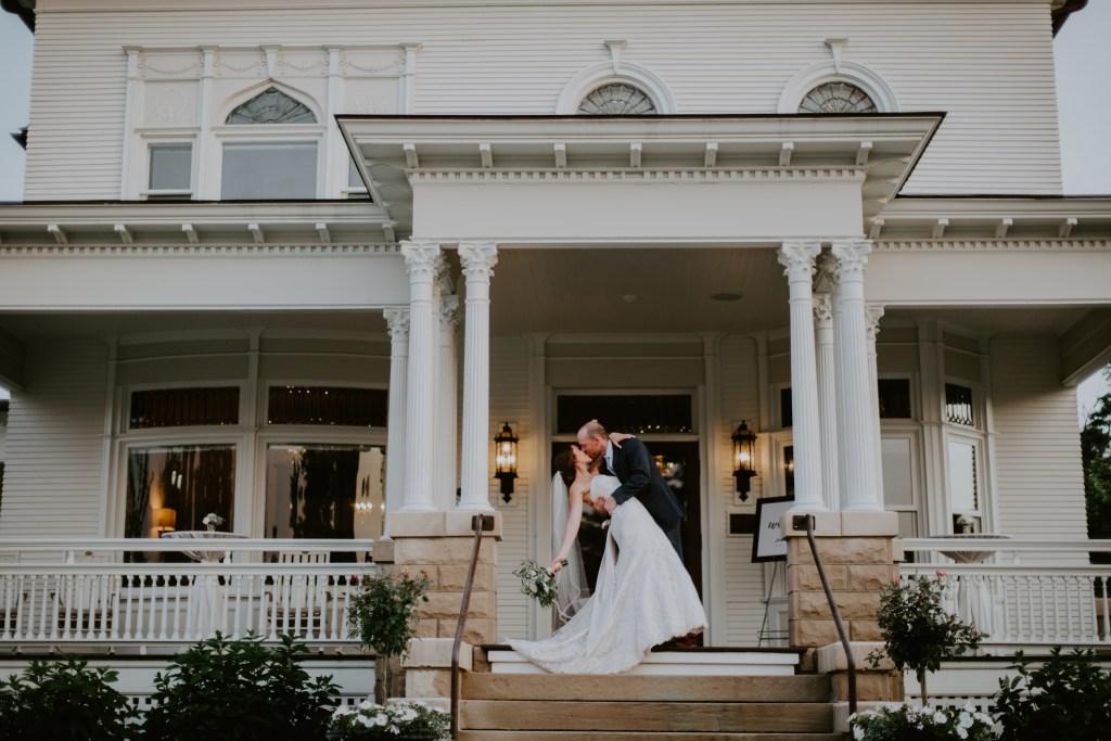 bride at historic mansion