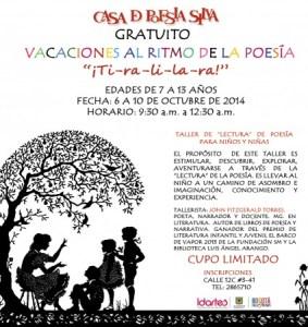 Taller gratuito de lectura de poesía para niños