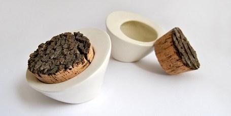 White Stone Cactus Box with Cork Stopper