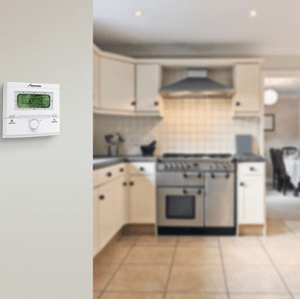 A wall thermostat for boiler installation, Lymington, Hampshire, New Forest