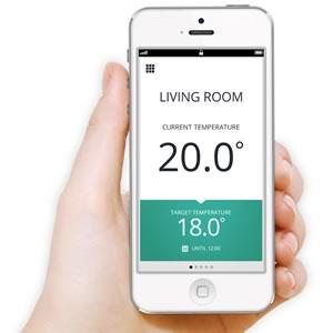 Honeywell Evhome app shown on a smart phone