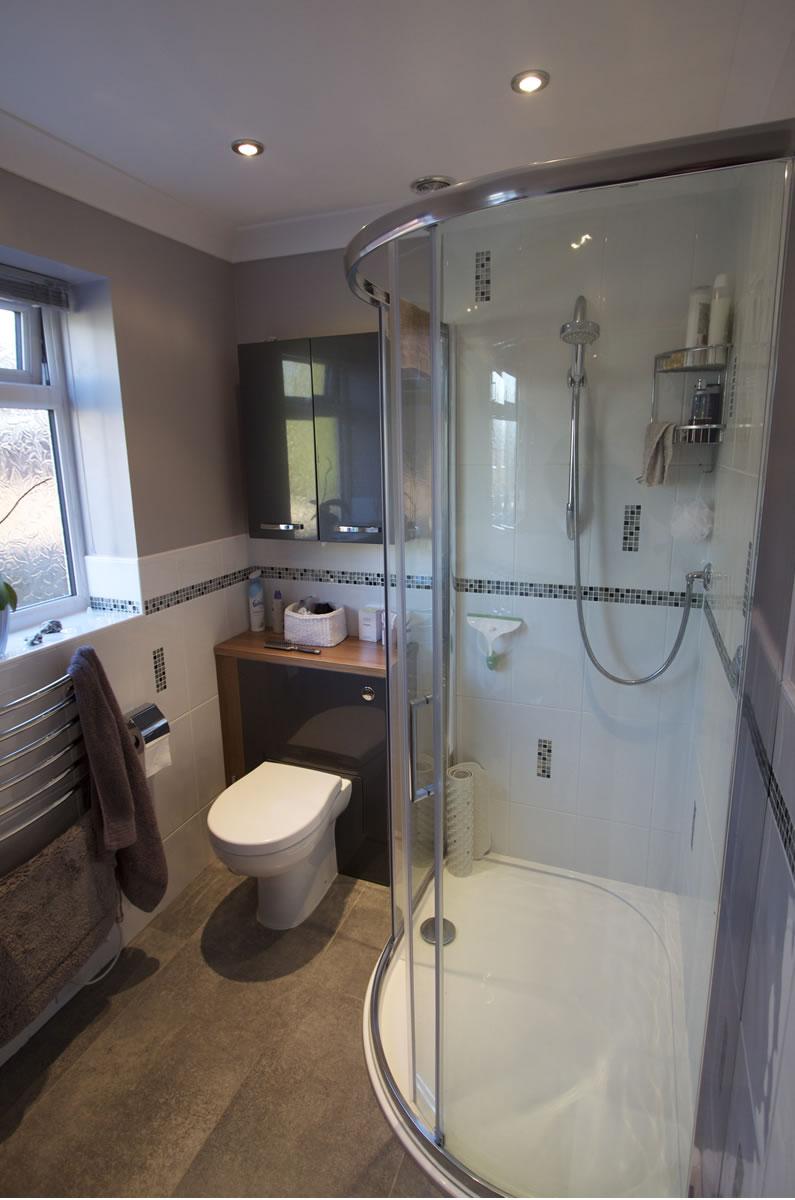 Small bathroom installation purple and white