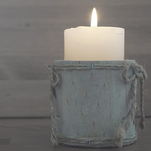 Beautiful rustic lit candle