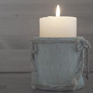 Beautiful rustic lit candle
