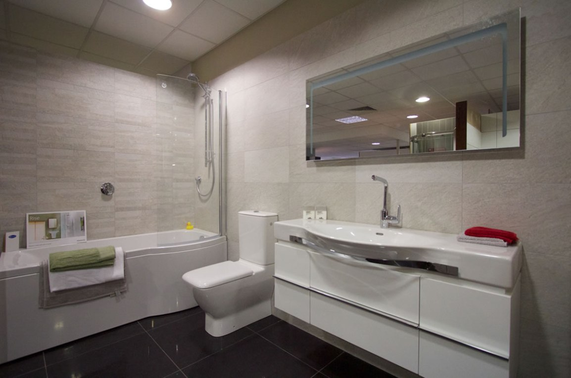 White Bathroom suite with long sink unit