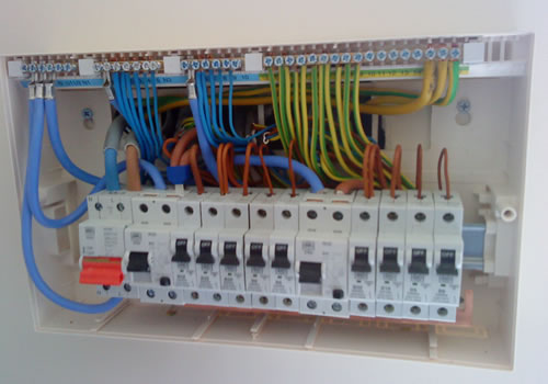A Fuse board close up showing perfect wiring