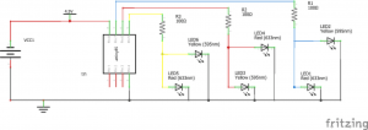 Schematic Diagram for circuit: ATTiny85 Flickering Flame Light
