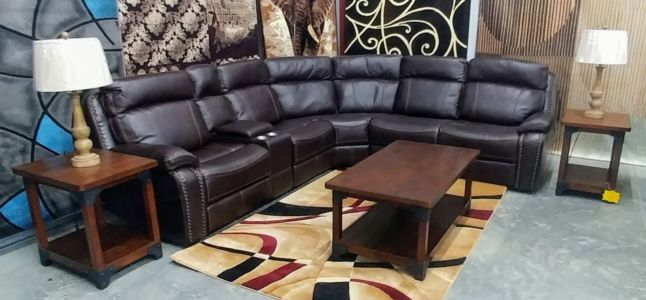 M0168-P223-7478a Brown Leather Power Sectional Power Headrest Motion Recliner C1725 P