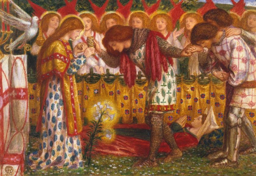 How Sir Galahad, Sir Bors and Sir Percival Were Fed with the Sanct Grael, Dante Gabriel Rossetti 1828-1882  http://www.tate.org.uk/art/work/N05234