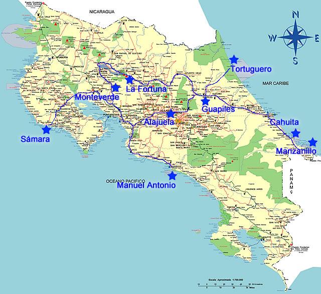 Costa Rica Strassenkarte