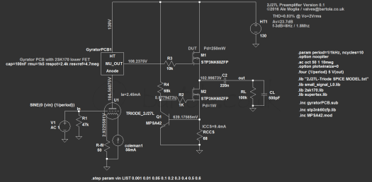 2J27L Preamp using Gyrator PCB
