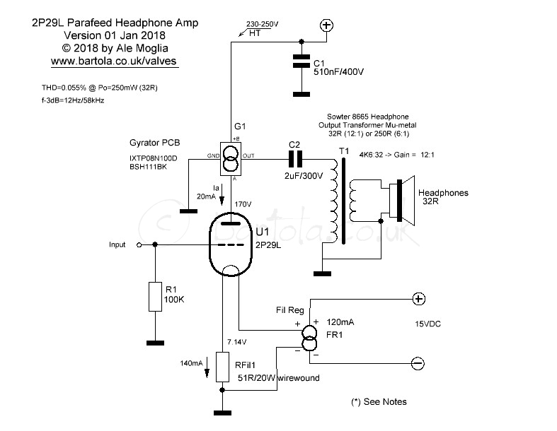 2P29L Headphone Amp | Bartola® Valves