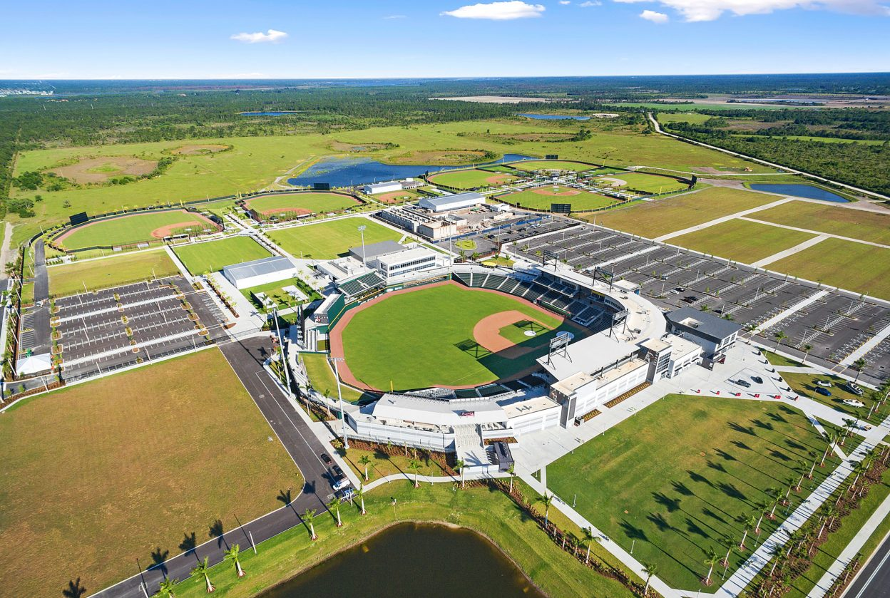 Aerial view of the entire Atlanta Braves Spring Training Facility complex