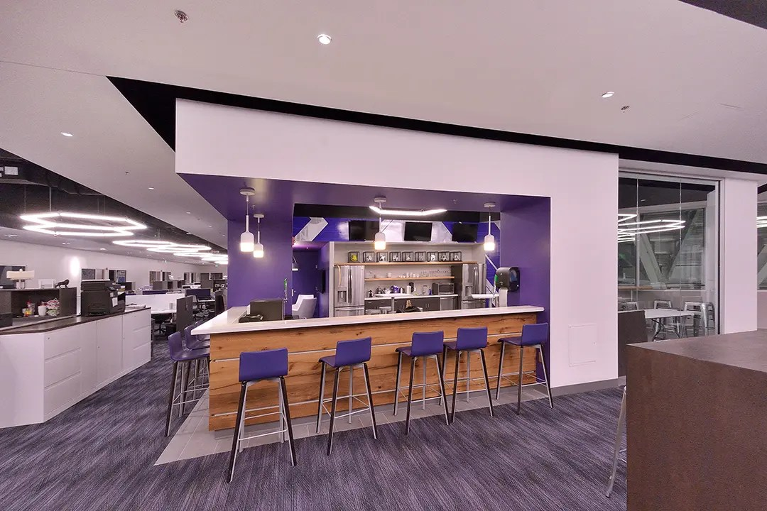 Purple lounge space for stadium staff