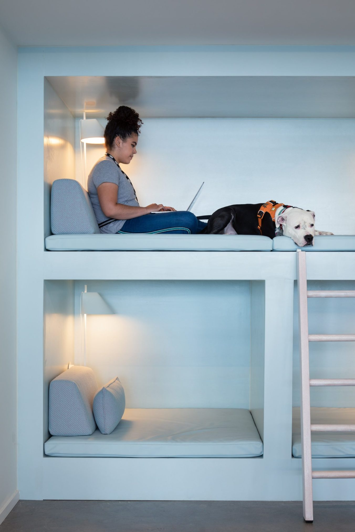 Woman working on laptop in cubbie with dog