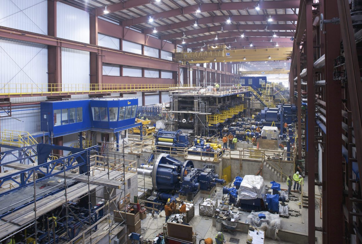 View from upper level of industrial equipment installations
