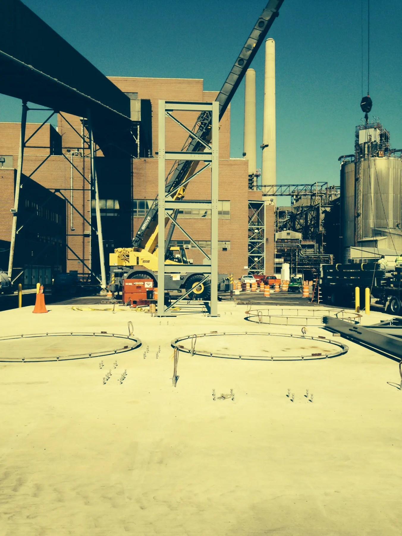 Exterior view of St Clair Compressor Station with crane