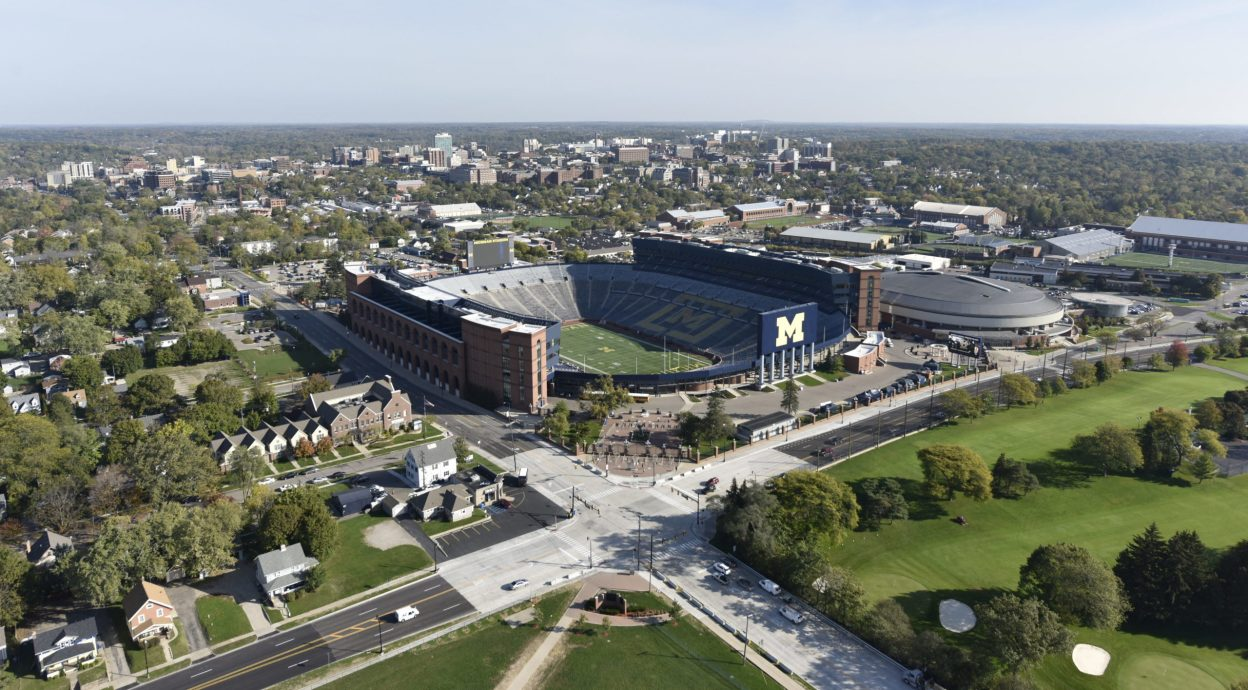 Aerial of full Michigan football stadium