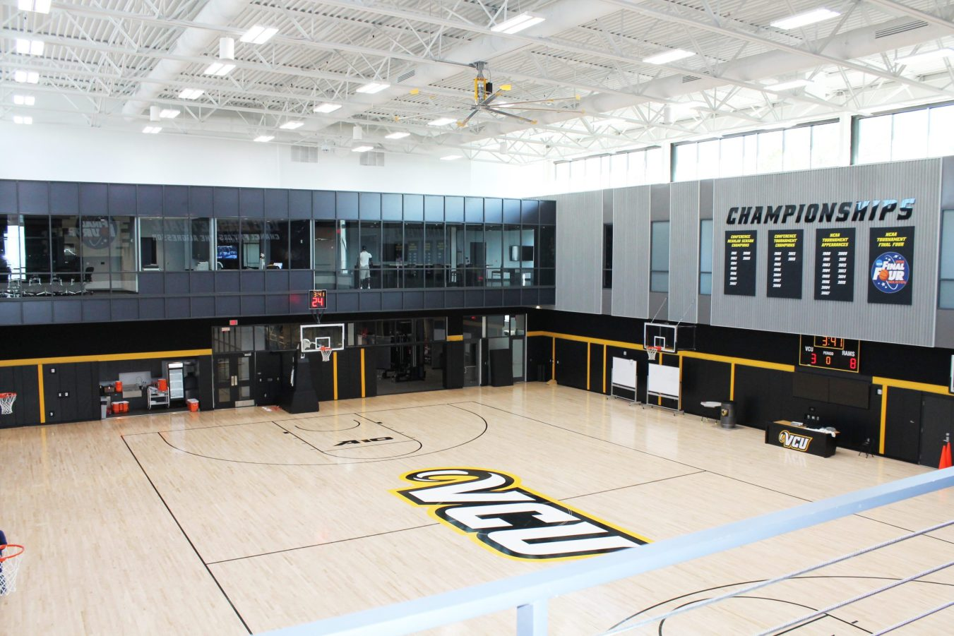 View from second floor of VCU's practice basketball court