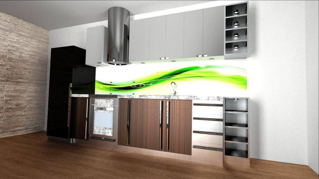 projekt kuchni z czarną lodówką