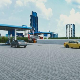 fotorealistyczna wizualizacja stacji benzynowej