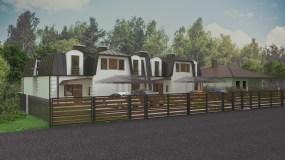 fotorealistyczna wizualizacja projektu domu jednorodzinnego w zabudowie bliźniaczej
