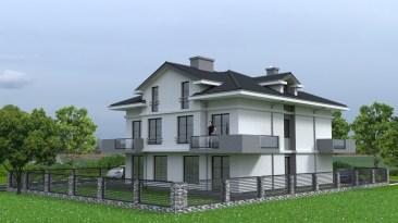 wizualizacja domu jednorodzinnego wolno stojącego