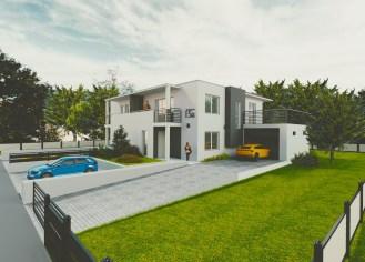 wizualizacja nowoczesnego domu jednorodzinnego w zabudowie bliźniaczej, z podjazdem i otoczeniem