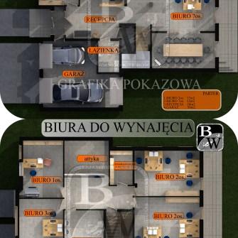 rzut 3d budynku z powierzchnią do wynajęcia