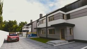 fotorealistyczna wizualizacja osiedla mieszkaniowego wielorodzinnego