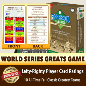 World Series Greats Lefty-Righty Player Card Boxed Game