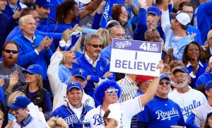 KANSAS CITY, MO - OCTOBER 15: Kansas City Royals fans cheer during Game Four of the American League Championship Series against the Baltimore Orioles at Kauffman Stadium on October 15, 2014 in Kansas City, Missouri. (Photo by Jamie Squire/Getty Images)
