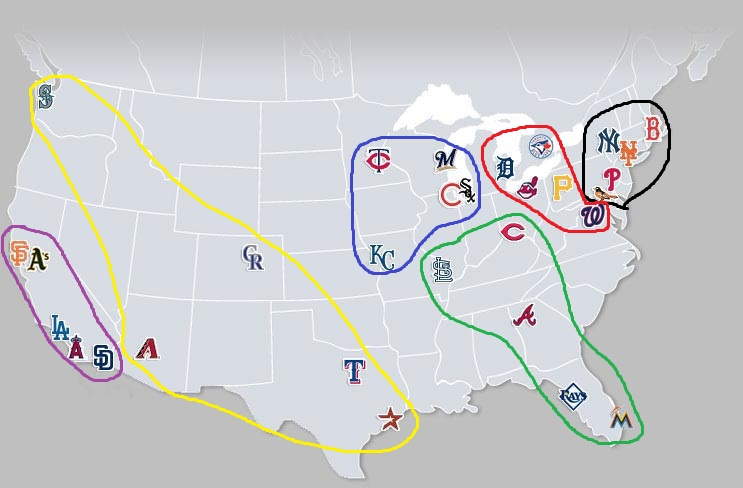 MLB Teams by Location