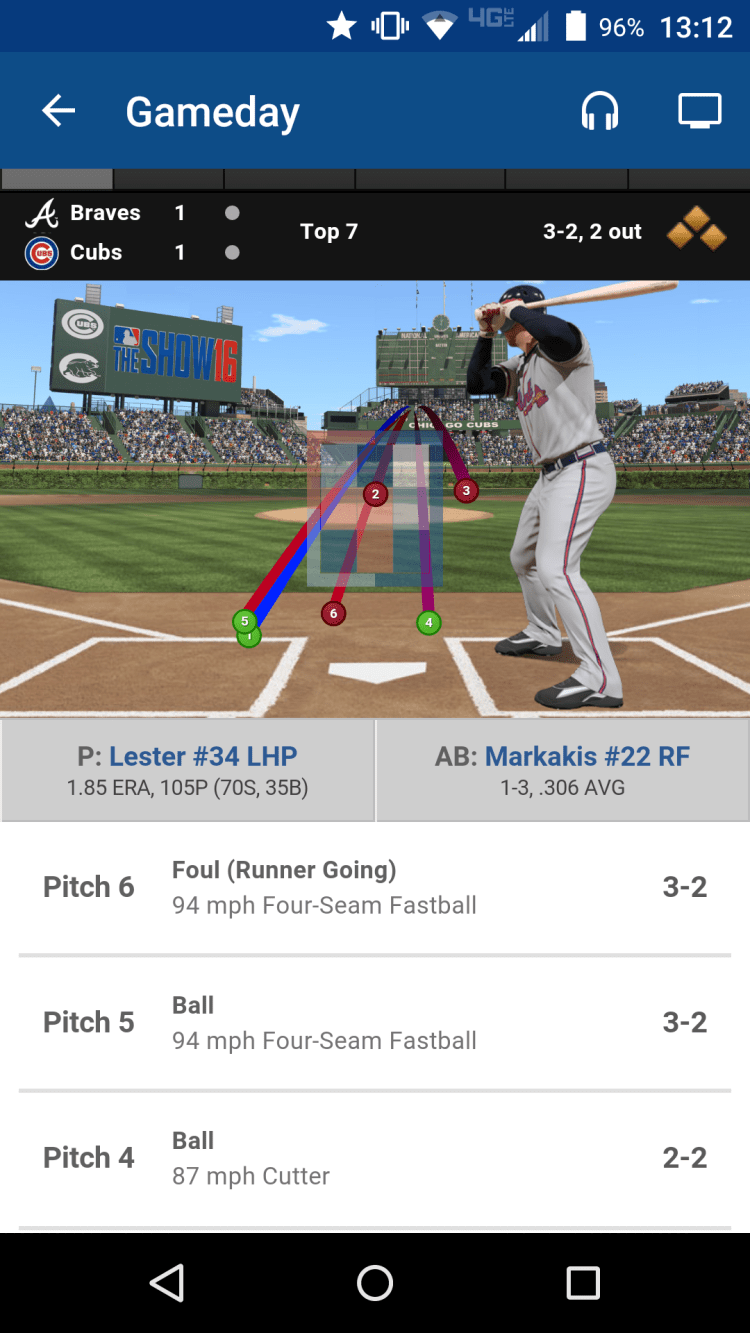 Screenshot from the author's phone. See how far inside pitch #3 is?