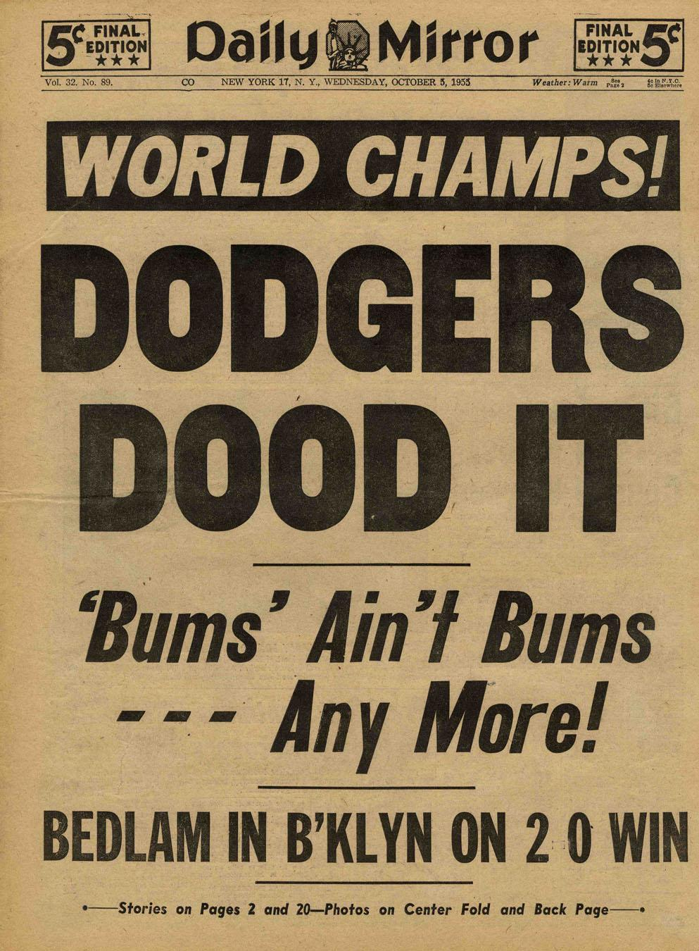 """1955 – THE WORLD SERIES I CAN'T FORGET!""-Essay by Bill Gutman - Old Baseball Photos and Essays!"