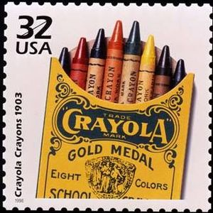 A 1998 USPS stamp commemorating Crayola crayon...
