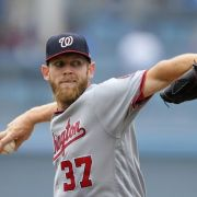 Washington Nationals starting pitcher Stephen Strasburg throws to the plate during the first inning of a baseball game against the Los Angeles Dodgers, Wednesday, June 7, 2017, in Los Angeles. (AP Photo/Mark J. Terrill)