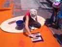 Nog druk bezig met het maken van de alfombra