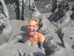 Bas in vulkanisch modderbad