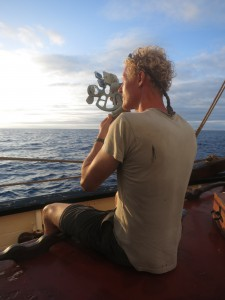 Eelco with the sextant