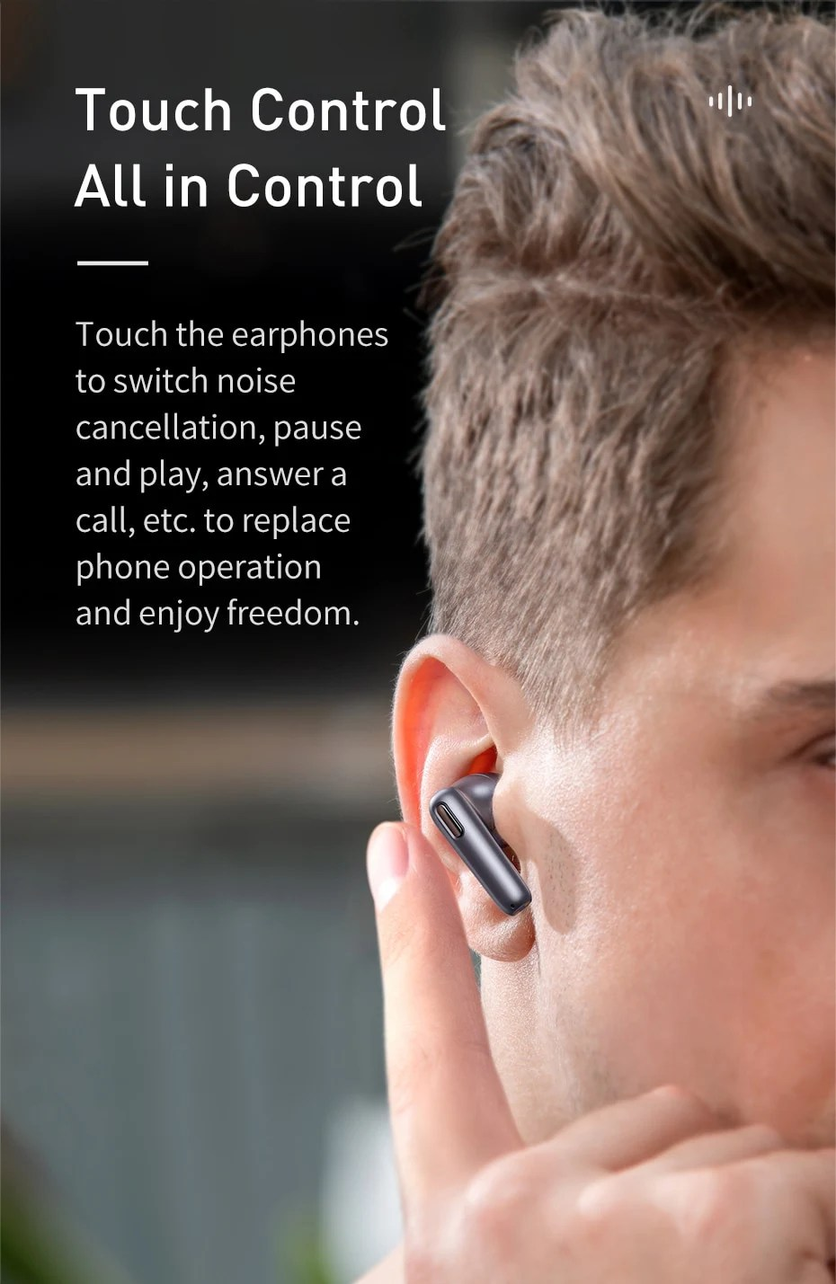 Baseus Official S2 TWS ANC True Wireless Earphones Active Noise Cancelling Bluetooth Headphone, Support Wireless Charging