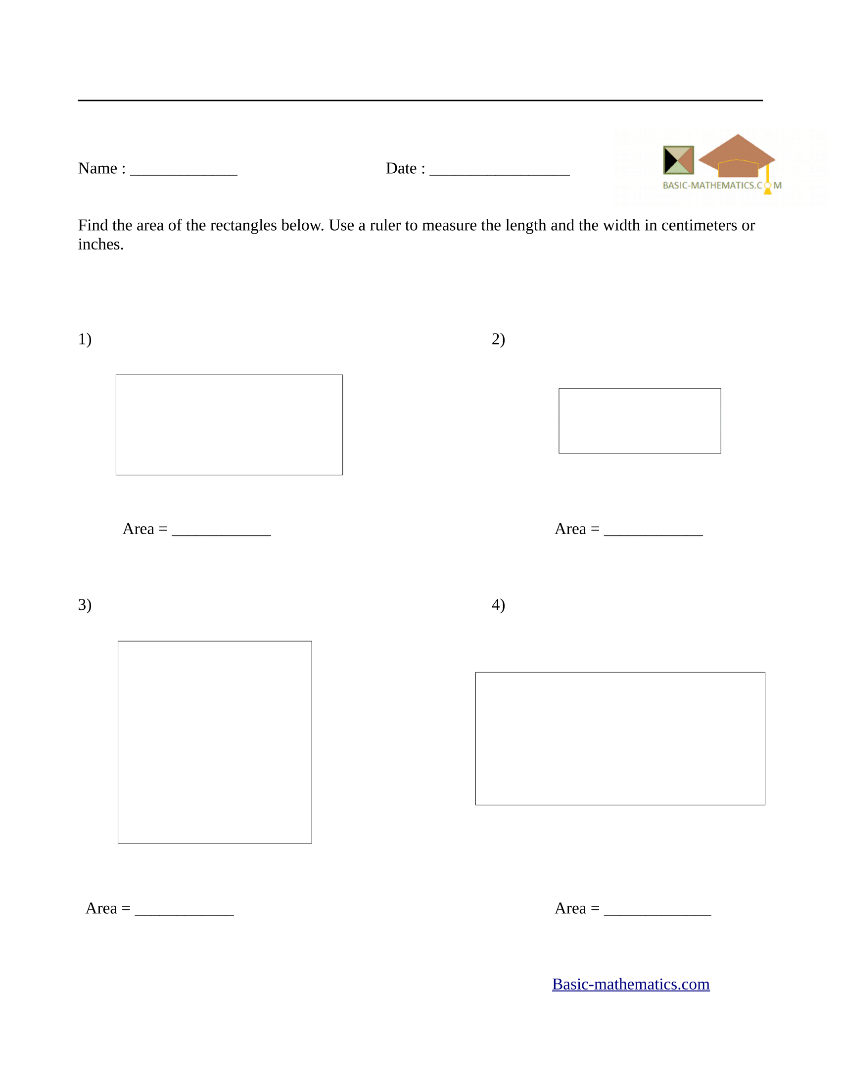 Worksheets Area Of Rectangle Worksheet Cheatslist Free